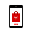 discount sale with shopping bag on mobile phone vector image vector image
