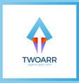 double arrow logo vector image vector image