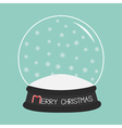Empty crystal ball with snowflakes Template Merry vector image vector image