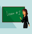 female teacher standing next to blackboard drawing vector image vector image