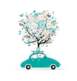 Floral tree on the car roof vector image