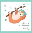 funny sloth hanging on the branch vector image