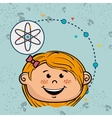 girl cartoon atom icon vector image