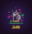 glass of beer neon sign vector image vector image