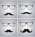 glasses and mustache set simple glasses and vector image vector image