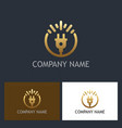 gold electric technology logo vector image vector image