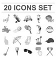 golf and attributes monochrome icons in set vector image vector image