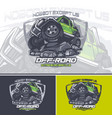 green off road car logo on top a mountain with vector image