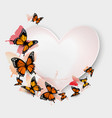 Greeting card with colorful butterflies and heart vector image vector image