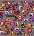 halloween seamless pattern with cartoon candies vector image