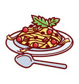 italian paste with delicious bolognese sauce and vector image vector image