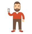 Man holds a cell phone vector image vector image