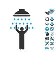 Man Under Shower Icon With Tools Bonus vector image vector image