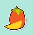 mango sticker on blue background colorful fruit vector image