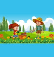 nature scene background with boy and girl vector image