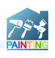 painting a house with a different tool vector image vector image