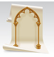 paper sheet and brown gothic arch model vector image vector image