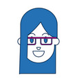 portrait of blue hair woman character face vector image vector image