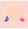 Romantic frame with cute birds vector image vector image