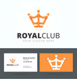 Royal club logo and business card template vector image vector image