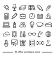 set of office workplace line icons vector image