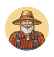 Smiling farmer in straw hat Gardener or beekeeper vector image vector image
