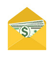 some dollar bills in white envelope vector image vector image