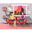 two girls having good time together vector image