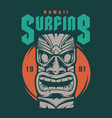 vintage hawaii surfing print vector image vector image