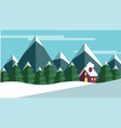 winter scene with trees and mountains and a cabine vector image vector image