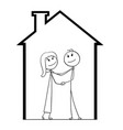 cartoon of young couple dreaming about new house vector image