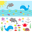 Sea ocean animal fauna set Fish whaledolphin vector image