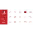 15 open icons vector image vector image