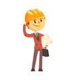 architect builder in hard hat holding paper rolls vector image