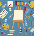 art painting tools and equipment seamless pattern vector image