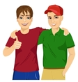 best friends standing embraced vector image vector image