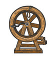 breaking wheel torture device sketch vector image vector image