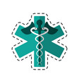 Cartoon caduceus medicine care symbol vector image