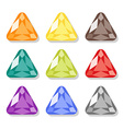 Cartoon triangular gems icons set vector image vector image