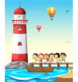 Children and lighthouse vector image vector image