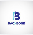 clean b initial letter chiropractic logo vector image