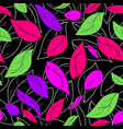 colorful leaves on black background seamless vector image vector image