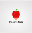 creative fruit with red pencil logo icon element vector image