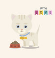cute cat with food vector image vector image