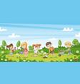 cute children work in the garden funny cartoon vector image vector image