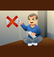 danger of playing with an electrical outlet vector image