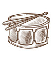 drum with drumsticks isolated sketch percussion vector image