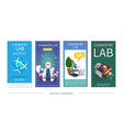 flat chemistry lab vertical banners vector image vector image