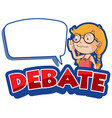 font design for word debate with happy girl vector image