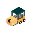 forklift with box transport vehicle isometric icon vector image